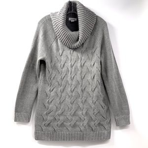 Calvin Klein Cable Knit Cowl Neck Long Sweater